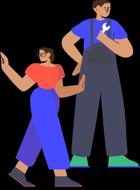 スパナを持つ作業着を着た男性と、サポートする女性