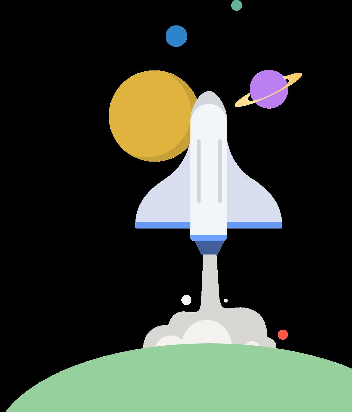 宇宙に向かって飛び立つスペースシャトル